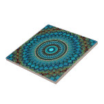 """Turquoise Teal Green Mandala Round Star Pattern Ceramic Tile<br><div class=""""desc"""">Beautiful contemporary aqua turquoise, dark red, lime green and orange mandala mosaic pattern design. Available on multiple original and matching home interior d&#233;cor accents and accessories. For decorating your master or children&#39;s bedroom, kitchen, nursery, living or family room, man or woman cave, college dorm, condo, studio or apartment, beach house,...</div>"""