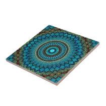 Turquoise Teal Green Mandala Round Star Pattern Ceramic Tile
