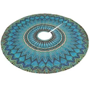 CozyLivin Turquoise Teal Green Mandala Round Star Pattern Fleece Tree Skirt