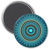 Turquoise Teal Green Mandala Round Star Pattern Magnet