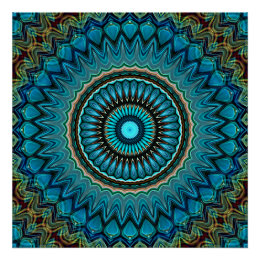 Turquoise Teal Green Mandala Round Star Pattern Poster