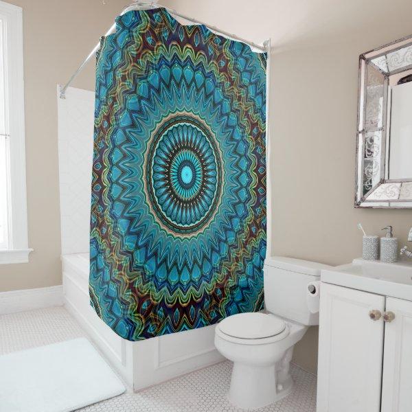 Turquoise Teal Green Mandala Round Star Pattern Shower Curtain
