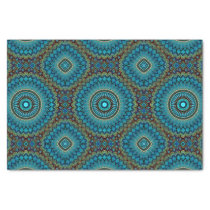 Turquoise Teal Green Mandala Round Star Pattern Tissue Paper