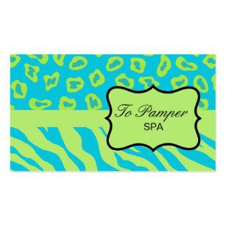 Turquoise Teal & Green Zebra & Cheetah Skin Custom Business Card