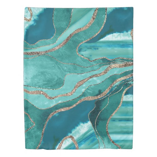 Turquoise Teal Marble Agate Gold Glitter Glam #1  Duvet Cover