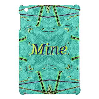 "Turquoise Teal Modern ""Mine"" Pattern Cover For The iPad Mini"