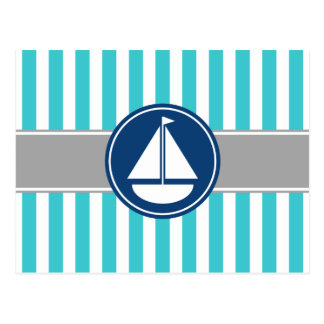 Turquoise Teal Nautical Sailboat Stripes Postcard