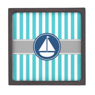 Turquoise Teal Nautical Sailboat Stripes Premium Trinket Box