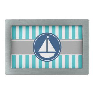 Turquoise Teal Nautical Sailboat Stripes Rectangular Belt Buckle