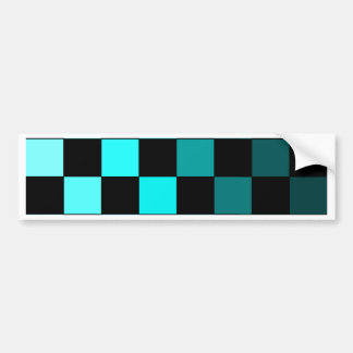 Turquoise Teal Ombre Checkerboard Chessboard Bumper Sticker