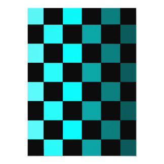 Turquoise Teal Ombre Checkerboard Chessboard Card