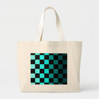 Turquoise Teal Ombre Checkerboard Chessboard Large Tote Bag