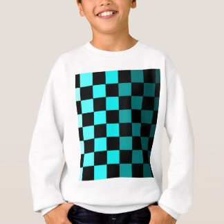 Turquoise Teal Ombre Checkerboard Chessboard Sweatshirt