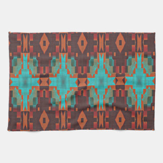 Turquoise Teal Orange Red Eclectic Ethnic Look Kitchen Towel