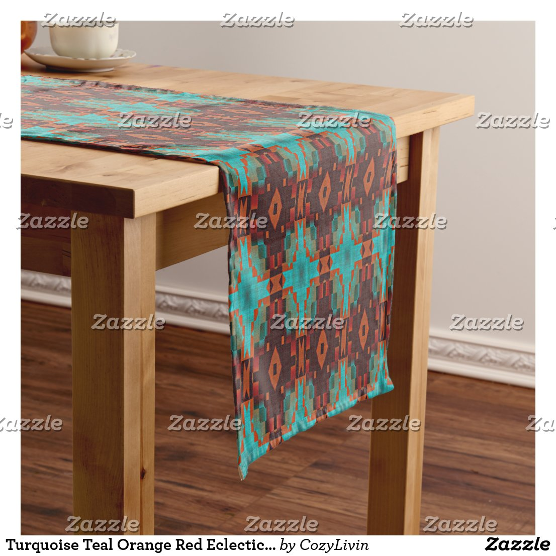 Western Table Runner With Turquoise, Teal, And Orange