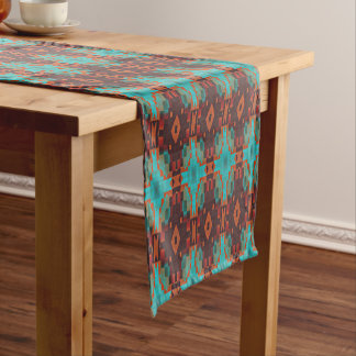 Turquoise Teal Orange Red Eclectic Ethnic Look Medium Table Runner