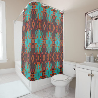 Turquoise Teal Orange Red Eclectic Ethnic Look Shower Curtain
