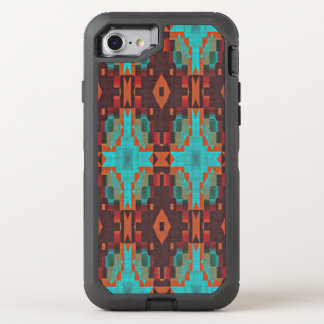 Turquoise Teal Orange Red Tribal Mosaic Pattern OtterBox Defender iPhone 7 Case