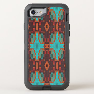 CaseConceptCreations Turquoise Teal Orange Red Tribal Mosaic Pattern OtterBox Defender iPhone 8/7 Case