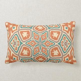 Turquoise Teal Orange Retro Nouveau Deco Pattern Throw Pillow