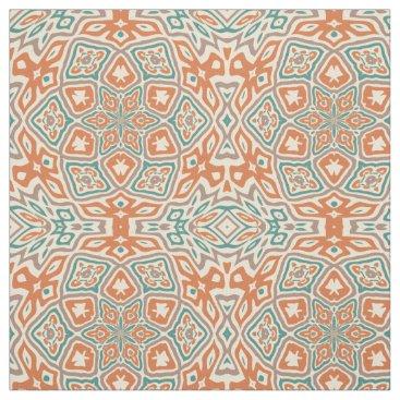 CozyLivin Turquoise Teal Orange Taupe Kaleidoscope Pattern Fabric