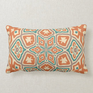 Turquoise Teal Orange Taupe Kaleidoscope Pattern Lumbar Pillow