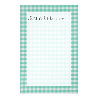 Turquoise Teal Picnic gingham stationery