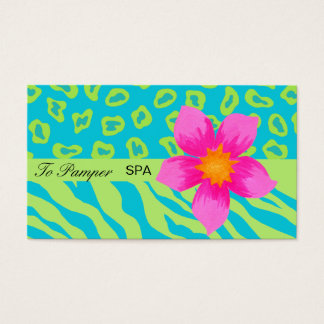 Turquoise Teal, Pink & Green Zebra & Cheetah Skin Business Card