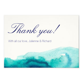 Turquoise Teal Watercolor Wedding Thank you Card