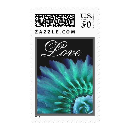 TURQUOISE & TEAL Wedding LOVE Sunburst Rose Wreath Postage