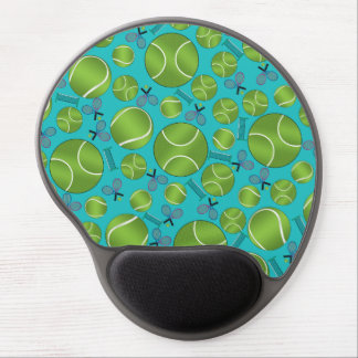 Turquoise tennis balls rackets and nets gel mouse pad