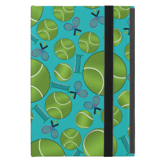 Turquoise tennis balls rackets and nets iPad mini covers