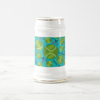 Turquoise tennis balls rackets and nets 18 oz beer stein