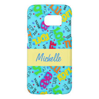Turquoise Text Symbols Name Personalized Samsung Galaxy S7 Case