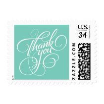 Turquoise Thank You Postage Stamp