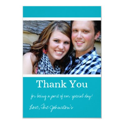 Turquoise Thank You Wedding Flat Cards