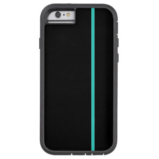 Turquoise Thin Vertical Line on Black Tough Xtreme iPhone 6 Case