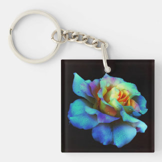Turquoise Tie Dyed Rose Keychain