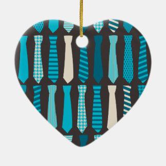 Turquoise TIes Teal Blue Boy Man Tie Print Ceramic Ornament