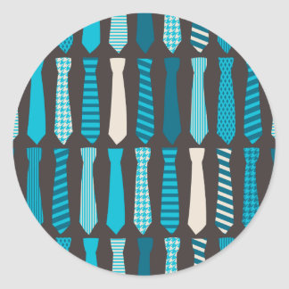 Turquoise TIes Teal Blue Boy Man Tie Print Classic Round Sticker