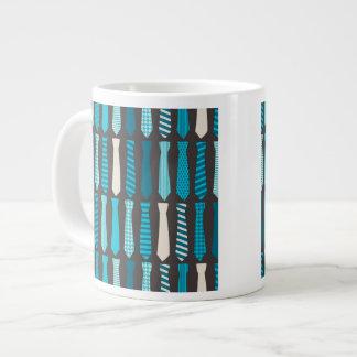 Turquoise TIes Teal Blue Boy Man Tie Print Large Coffee Mug