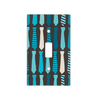 Turquoise TIes Teal Blue Boy Man Tie Print Light Switch Cover