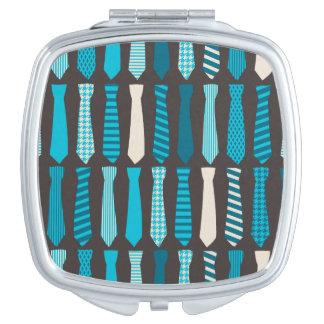 Turquoise TIes Teal Blue Boy Man Tie Print Makeup Mirror