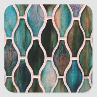 Turquoise tiles square sticker