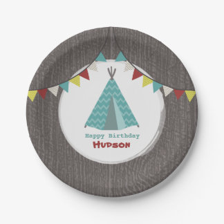 Turquoise Tipi Birthday Paper Plate