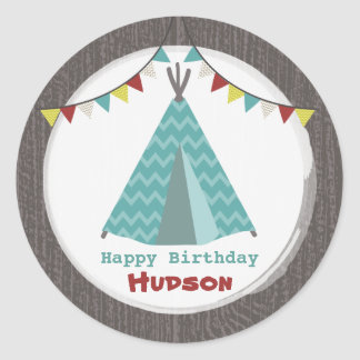 Turquoise Tipi Birthday Sticker