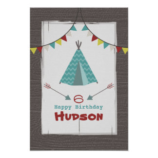 Turquoise Tipi Camping Birthday Poster