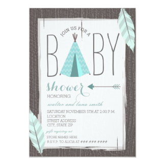 turquoise tipi feathers baby shower card
