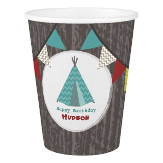 Turquoise Tipi Kids Birthday Party Cups Paper Cup
