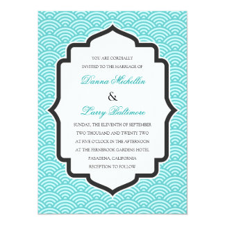 Turquoise Traditional Japanese Pattern Wedding Card